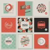 Σχέδια καταλόγων επιλογής εστιατορίων. Αναδρομικός-ορισμένα διανύσματα ελεύθερη απεικόνιση δικαιώματος