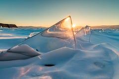 Σχέδια πάγου στη λίμνη Baikal Σιβηρία, Ρωσία στοκ εικόνες