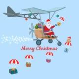 Σχέδιο Άγιος Βασίλης καρτών Χριστουγέννων στο αεροπλάνο διανυσματική απεικόνιση