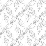 Σχέδιο άνευ ραφής ο μονοχρωματικός με τα φύλλα διανυσματική απεικόνιση
