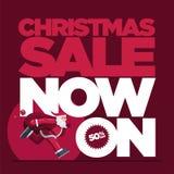 Σχέδιο έννοιας πώλησης Χριστουγέννων με το τρέξιμο Santa στοκ εικόνα με δικαίωμα ελεύθερης χρήσης