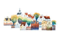 Σχέδιο ακουαρελών στο χρώμα του παλαιού ευρωπαϊκού κέντρου πόλεων με τα παραδοσιακά σπίτια το καλοκαίρι ελεύθερη απεικόνιση δικαιώματος