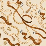Σχέδιο αλυσίδων και πλεξουδών Άνευ ραφής διακοσμητική ταπετσαρία, ρεαλιστική ζώνη δέρματος και χρυσά έπιπλα Διανυσματικά βραχιόλι ελεύθερη απεικόνιση δικαιώματος