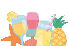 Σχέδιο αστεριών και κοχυλιών χυμού popsicle διανυσματική απεικόνιση