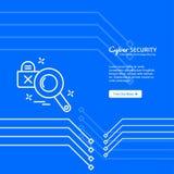 Σχέδιο ασφάλειας Cyber με το μοναδικό ύφος Στοκ εικόνες με δικαίωμα ελεύθερης χρήσης