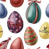 Σχέδιο αυγών Πάσχας Watercolor Χρωματισμένο χέρι φτερό και χρωματισμένα αυγά με το ντεκόρ που απομονώνεται στο άσπρο υπόβαθρο δια Στοκ Εικόνες
