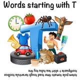 Σχέδιο αφισών για τις λέξεις που αρχίζουν με το Τ απεικόνιση αποθεμάτων