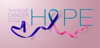 Ελπίδα Σχέδιο αφισών καλλιγραφίας συνειδητοποίησης καρκίνου θυροειδή Ρεαλιστικό κιρκίρι και ρόδινη και μπλε κορδέλλα Σεπτέμβριος  διανυσματική απεικόνιση