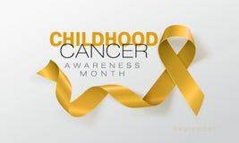 Σχέδιο αφισών καλλιγραφίας συνειδητοποίησης καρκίνου παιδικής ηλικίας Ρεαλιστική χρυσή κορδέλλα Σεπτέμβριος είναι μήνας συνειδητο διανυσματική απεικόνιση