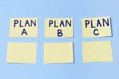 Σχέδιο Α, σχέδιο Β, σχέδιο Γ για τις πολύχρωμες αυτοκόλλητες ετικέττες γραφείων Προγραμματισμός, διαχείριση, απασχόληση, επιχείρη στοκ φωτογραφία