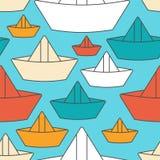 Σχέδιο βαρκών εγγράφου άνευ ραφής σκάφος φιαγμένο από ΤΣΕ παιχνιδιών παιδιών εγγράφου Στοκ φωτογραφία με δικαίωμα ελεύθερης χρήσης