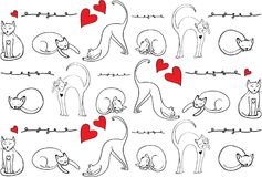 Σχέδιο γατών Συρμένες χέρι γάτες στη διαφορετική θέση με τα διακοσμητικά στοιχεία Κόκκινες καρδιά και γάτες Ελεύθερα συρμένα στοι απεικόνιση αποθεμάτων
