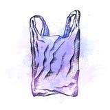 Σχέδιο γραμμών μιας πλαστικής τσάντας με την εκκόλαψη και τους ιώδεις παφλασμούς watercolor r διανυσματική απεικόνιση