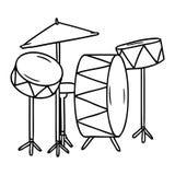 σχέδιο γραμμών doodle μιας εξάρτησης τυμπάνων απεικόνιση αποθεμάτων