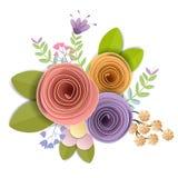 Σχέδιο διανύσματος και απεικόνισης το έγγραφο τεχνών ανθίζουν, η εορταστική floral ανθοδέσμη άνοιξης, φθινοπώρου, γάμου και βαλεν ελεύθερη απεικόνιση δικαιώματος