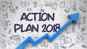 Σχέδιο δράσης 2018 που επισύρεται την προσοχή στο τουβλότοιχο Στοκ φωτογραφίες με δικαίωμα ελεύθερης χρήσης