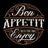 Σχέδιο εγγραφής Bon appetit Στοκ Φωτογραφία