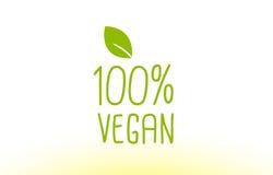 σχέδιο εικονιδίων λογότυπων έννοιας κειμένων φύλλων 100% vegan πράσινο Στοκ φωτογραφία με δικαίωμα ελεύθερης χρήσης