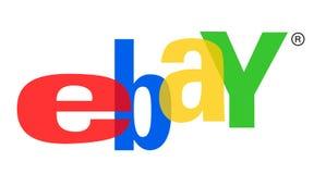 Σχέδιο εικονιδίων λογότυπων καταστημάτων Ebay στο άσπρο υπόβαθρο στοκ εικόνες με δικαίωμα ελεύθερης χρήσης