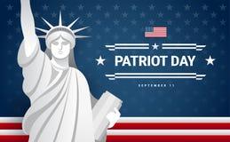 Σχέδιο εμβλημάτων ημέρας πατριωτών - ΑΜΕΡΙΚΑΝΙΚΗ σημαία, πατριώτης κειμένων ημέρα Σεπτέμβριος διανυσματική απεικόνιση