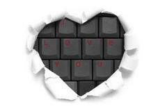 Σχέδιο εμβλημάτων τέχνης στη μορφή της καρδιάς στη Λευκή Βίβλο με τις λέξεις Ι Στοκ Εικόνα