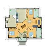 σχέδιο εξοχικών σπιτιών χρώ&mu Στοκ Εικόνα