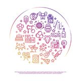 σχέδιο εορτασμού κομμάτων Γεγονός, κόμμα, διανυσματικά εικονίδια περιλήψεων ψυχαγωγίας Στοκ Εικόνα