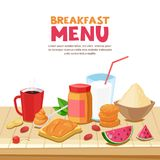 Σχέδιο επιλογών προγευμάτων, διανυσματική απεικόνιση κινούμενων σχεδίων Σάντουιτς φυστικοβουτύρου, τσάι, κούπα καφέ, oatmeal στον διανυσματική απεικόνιση