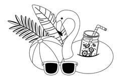 Σχέδιο επιπλεόντων σωμάτων φλαμίγκο καλοκαιριού και διακοπών απεικόνιση αποθεμάτων
