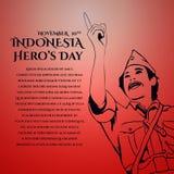 Σχέδιο ευχετήριων καρτών ημέρας του ευτυχούς ήρωα της Ινδονησίας απεικόνιση αποθεμάτων