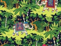 Σχέδιο ζουγκλών ελεφάντων απεικόνιση αποθεμάτων