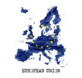 Σχέδιο ζωγραφικής watercolor της ΕΕ σημαιών της Ευρωπαϊκής Ένωσης Μορφή χαρτών χώρας r ελεύθερη απεικόνιση δικαιώματος