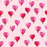 Σχέδιο ημέρας βαλεντίνων του ST Watercolor Ρομαντικά ρόδινα μπαλόνια στις καρδιές μορφής Για την κάρτα, το σχέδιο, την τυπωμένη ύ Στοκ φωτογραφίες με δικαίωμα ελεύθερης χρήσης