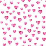 Σχέδιο ημέρας βαλεντίνων του ST Watercolor Ρομαντικές ρόδινες καρδιές Για την κάρτα, το σχέδιο, την τυπωμένη ύλη ή το υπόβαθρο Στοκ Εικόνες