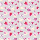 Σχέδιο ημέρας βαλεντίνων του ST Watercolor Ρομαντικές ρόδινες καρδιές, κιβώτιο δώρων, φάκελος Για την κάρτα, το σχέδιο, την τυπωμ Στοκ Εικόνα