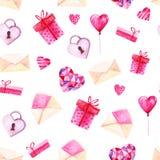 Σχέδιο ημέρας βαλεντίνων του ST Watercolor Ρομαντικές ρόδινες καρδιές, κιβώτιο δώρων, φάκελος Για την κάρτα, το σχέδιο, την τυπωμ Στοκ Φωτογραφίες