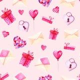 Σχέδιο ημέρας βαλεντίνων του ST Watercolor Ρομαντικές ρόδινες καρδιές, κιβώτιο δώρων, φάκελος Για την κάρτα, το σχέδιο, την τυπωμ Στοκ φωτογραφίες με δικαίωμα ελεύθερης χρήσης