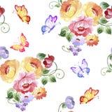 Σχέδιο θερινού άνευ ραφής Watercolor με τα λουλούδια ανθοδεσμών σε ένα Whi Στοκ Εικόνα