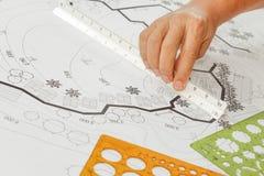 Σχέδιο κήπων σχεδίου αρχιτεκτονικής τοπίων για το συγκρότημα κατοικιών στοκ φωτογραφία με δικαίωμα ελεύθερης χρήσης