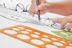 Σχέδιο κήπων σχεδίου αρχιτεκτονικής τοπίων για το συγκρότημα κατοικιών στοκ εικόνες με δικαίωμα ελεύθερης χρήσης