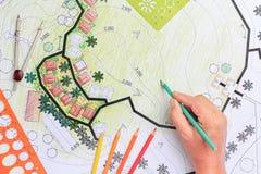 Σχέδιο κήπων σχεδίου αρχιτεκτονικής τοπίων για το συγκρότημα κατοικιών στοκ εικόνα