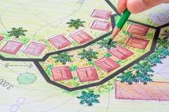 Σχέδιο κήπων σχεδίου αρχιτεκτονικής τοπίων για το συγκρότημα κατοικιών στοκ φωτογραφίες με δικαίωμα ελεύθερης χρήσης