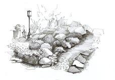 Σχέδιο κήπων τοπίων με τις πέτρες, με έναν λαμπτήρα οδών και ένα gree ελεύθερη απεικόνιση δικαιώματος
