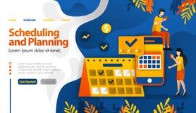 Σχέδιο και προγραμματίζοντας apps, τα ταξίδια προγραμματισμού, οι καθοριστικές συνεδριάσεις και η διανυσματική έννοια απεικόνισης απεικόνιση αποθεμάτων