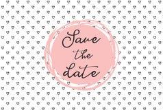 Σχέδιο καρδιών, συρμένες χέρι εικονίδια και απεικονίσεις για τους βαλεντίνους και το γάμο Εκτός από το πρότυπο πρόσκλησης ημερομη Στοκ Εικόνες