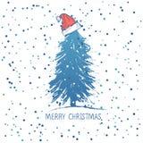 Σχέδιο καρτών με ένα συρμένο χέρι χριστουγεννιάτικο δέντρο με snowflakes και Χαρούμενα Χριστούγεννας το κείμενο santa καπέλων s ελεύθερη απεικόνιση δικαιώματος