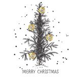 Σχέδιο καρτών με ένα συρμένο χέρι χριστουγεννιάτικο δέντρο με snowflakes και Χαρούμενα Χριστούγεννας το κείμενο διανυσματική απεικόνιση