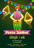 Σχέδιο καρτών πρόσκλησης κομμάτων Junina Festa με το βραζιλιάνο όργανο τυμπ ελεύθερη απεικόνιση δικαιώματος