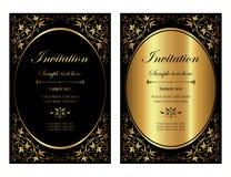 Σχέδιο καρτών πρόσκλησης - μαύρο και χρυσό εκλεκτής ποιότητας ύφος πολυτέλειας Στοκ φωτογραφίες με δικαίωμα ελεύθερης χρήσης