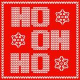 Σχέδιο καρτών Χριστουγέννων με τις πλεκτές λέξεις ρητών santas ho ho ho διανυσματική απεικόνιση